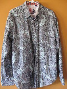 Robert Graham MYNOMI Black & Teal Paisley Long Sleeve Sport Shirt RS091999. Mens Printed Shirts, Robert Graham, Sports Shirts, Paisley, Teal, Shirt Dress, My Style, Long Sleeve, Casual