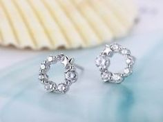 9k Silver Plated CZ Circle/Star Hypo-Allergenic Pierced Earrings Stud