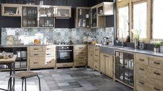 meubles bois brut métal cuisine crédence carreaux de ciment esprit atelier