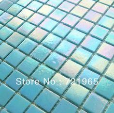 Iridescent glass mosaics FREE shipping glass mosaic kitchen backsplash tile IGMT023 blue swimming pool mosaic tiles glass mosaic-in Mosaics ...