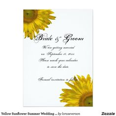 Yellow Sunflower Summer Wedding Save the Date