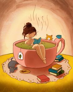 passion, la lecture - -Ma passion, la lecture - - CAFÉ - - Foot soaking تويتر \ Jihan Alkhwaja ( livros, leitura, casas Such a great illustration of a bookworm (I was one) - found in Book And Coffee, Tea And Books, Illustrations, Illustration Art, Tee Kunst, Fantasy Magic, Tea Art, Belle Photo, Crazy Cats