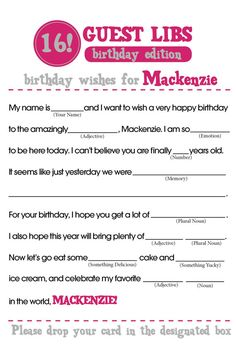 BIRTHDAY MAD LIBS by ForMomentsThatMatter on Etsy 40th Birthday Gifts For Women, 90th Birthday Parties, Very Happy Birthday, 16th Birthday, Birthday Wishes, Birthday Woman, Birthday Ideas, Sleepover Party Games, Slumber Parties