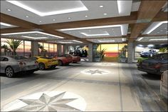 Interior, Modern Spacious Garage For Car Collector With Some Luxury Car Collection Parked Inside And Apply Elegant Ceiling Design With Sophi...
