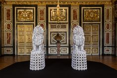 Gardes, 2012   Joana Vasconcelos   Georges Marci Collection, Gstaad   (2x) 200 x 65 x 110 cm   Port Laurent marble (Pakistan) lions & bases & Azores crocheted lace.