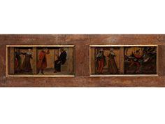 ZWEI WELTLICHE GESCHICHTEN Tempera auf Holz. 48 x 154 cm. Diese beiden kostbaren Holzbilder gehörten zu einer mit Allegorien gestalteten Truhe, an der sie...