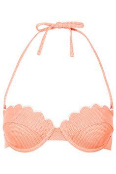 TOPSHOP Tangerine Scallop Bikini Top