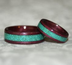 Wooden Wedding Bands with Crushed Stone Inlay Bent by MnMWoodworks