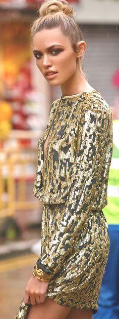 Gold And Black Embellished Little Dress by Mes Voyages à Paris