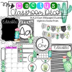 Cactus themed classrooms are on POINT! ;) This BUNDLE packet is perfect if you are looking for a cactus themed classroom with style! This packet has black and white geometrical backgrounds with touches of cactus clip art that will perfectly modernize your