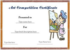 Art competition participation certificate art certificate certificate format for art competition winner yelopaper Images