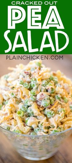 Cracked Out Pea Salad - Macaroni and green peas tossed in mayonnaise, cheddar, bacon and ranch.