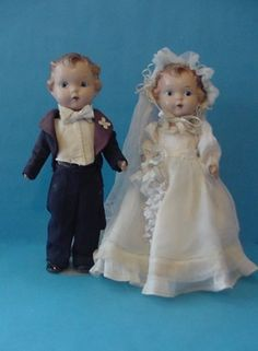 "12"" old antique 1920s composition Effanbee PATSY type Bride & Groom Doll Couple"
