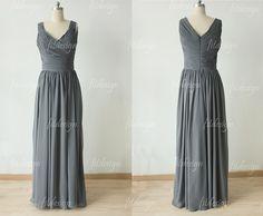 gray bridesmaid dress long bridesmaid dress chiffon by fitdesign, $109.00