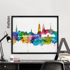 Watercolour Zürich print skyline poster by iPrintPosters on Etsy