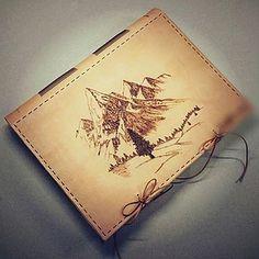 Leather photoalbum - kožený album A4 / mountains / pyrography / tourist diary / bookbinding / leather work / handmade / Slovakia / album /