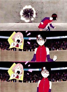 "<3 Sareda & Sakura - from 11th movie: ""Boruto: Naruto the Movie"" (CANON) - Sakura: ""SHAANNARO!! THAT'S MY GIRL!!"""