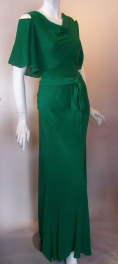 I love the color and the open shoulders. 1930s terry bias cut gown with open shoulder, DCV archives