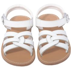 L'Amour White Woven Strap Summer Sandals Toddler Girls 5-10 ($39) ❤ liked on Polyvore featuring kids