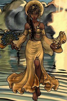 Folk and Historical doll by Yoruba Goddess of love and beauty. Black Girl Art, Art Girl, Black Art, Oshun Goddess, Orishas Yoruba, Azalea Dress Up, Modern Day Hippie, African Goddess, Goddess Tattoo