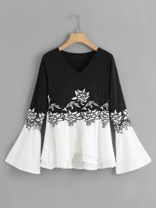 Shop Two Tone Embroidered Applique T-shirt online. SheIn offers Two Tone Embroidered Applique T-shirt & more to fit your fashionable needs. Women's Fashion Dresses, Hijab Fashion, Casual Dresses, Blouse Styles, Blouse Designs, Fancy Tops, Shirt Embroidery, Black And White Tops, Blouse And Skirt