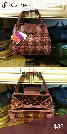 "VERA BRADLEY Tweed Satchel NWT Burgundy and pink plaid tweed fabric and suede tab top satchel by Vera Bradley.  12"" across the bottom x 8.5"" tall with a strap drop of 5"".  1 interior zippered pocket.  New with tag. Vera Bradley Bags Satchels"