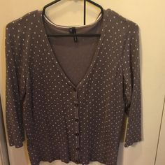 Maurice's Cardigan Lilac cardigan with cream polka dots. Could pair with a cute pair of cropped pants and some pearls! Good used condition. Maurices Sweaters Cardigans