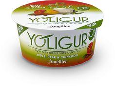 En Ametller hemos conseguido desarrollar una nueva categoría de producto: el Yoligur. Un desnatado con aceite de oliva, en el que hemos sustituido las grasas saturadas de la leche por aceite de oliva, obteniendo así un yogur más saludable, extraordinariamente cremoso y con 0% de grasa animal. Yogurt - manzana, pera y canela, higos y tomillo, caqui y melocoton, granada y naranja, original.