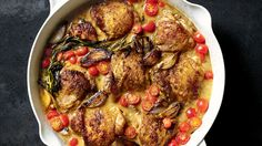 Brown 8 chicken thighs, 3 c shallots. Add white wine, dijon, tarragon. Remove lid, reduce. Add 2 c cut chery tomatoes. Tweeted recioe from Andew Zimmern Chicken With Shallots, Chef-Style
