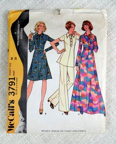 McCalls 3791 Vintage 1970s Sewing Pattern - Ladies dress or tunic and pants. Princess dress or tunic has two-piece collar, back zipper and