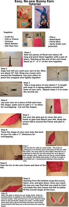 Easy DIY furry rabbit ears for costume