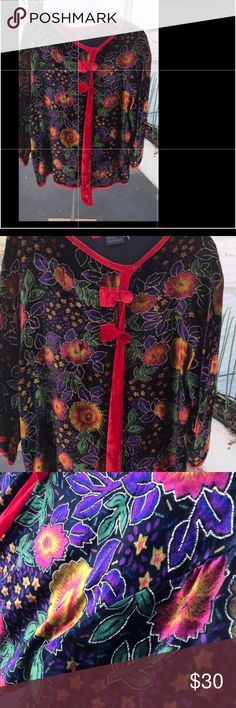 Top Very beautiful velvet vintage top with a beautiful coloring flowers all over it and two buttons on the top ,I  wear it  few times , is   excellent condition Tops Blouses