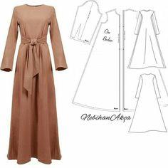 Long dress for hijabers Abaya Fashion, Muslim Fashion, Modest Fashion, Fashion Sewing, Diy Fashion, Fashion Outfits, Sewing Clothes, Diy Clothes, Clothes For Women