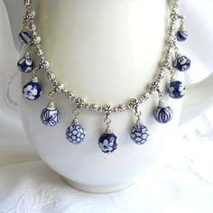 Delft blue necklace Delft blue jewelry Delft Holland by minouc, €35.00