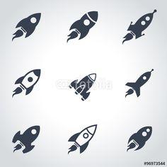 Vektor: Vector black rocket icon set. Rocket Icon Object, Rocket Icon Picture, Rocket Icon Image - stock vector