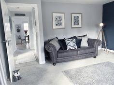 Navy and Grey decor in the living room Cosy Grey Living Room, Navy Blue And Grey Living Room, Grey Carpet Living Room, Living Room Decor Colors, Blue Living Room Decor, Living Room Lounge, Living Room Color Schemes, Room Carpet, Colour Schemes