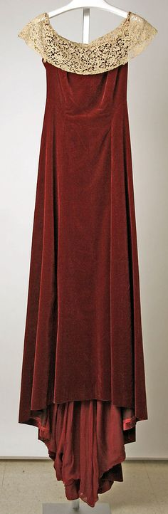 Red Silk and Linen Opera Dress with Lace Collar and fishtail (aka high low) hem, circa 1930s from the design house of Hattie Carnegie
