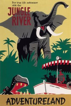 Disney Poster Disneyland Vintage Jungle River by on Etsy Disneyland Vintage, Posters Disney Vintage, Poster Disney, Retro Disney, Disneyland Rides, Disneyland Shirts, Disney Rides, Vintage Travel Posters, Disney Love