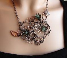 Romantic Copper Vine Necklace  Spirals  Handmade by sparkflight, $165.00