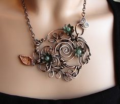 Romantic Copper Vine Necklace  Spirals  Handmade by sparkflight, $165.00