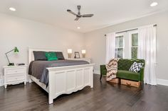 Hardwood in bedroom with gray and emerald green accents. 2 Car Carport, Floors And More, 2 Story Houses, Green Accents, Emerald Green, Hardwood, Flooring, Gray, Bedroom