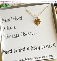 10% VALENTINES DAY SALE Four Leaf Clover Necklace, Best Friend Gift, Christmas Gift For Best Friend ,  Shamrock Necklace, Best Friend Gift, by anatoliantaledesign on Etsy https://www.etsy.com/listing/162292295/10-valentines-day-sale-four-leaf-clover