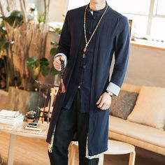 Chinese style jacket mens Han dynasty clothing ethnic style coat outwears size L Yoga Fashion, Kimono Fashion, Fashion Outfits, Daily Fashion, Men Fashion, Oriental Fashion, Ethnic Fashion, Chinese Fashion, Mens Linen Jackets