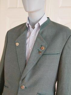 German Vintage Trachten Jacket Men's, Green Linen Blazer, Traditional Bavarian Blazer, Alpine Jacket, Tyrol Sports Coat: Size 38 (US & UK) by YouLookAmazing on Etsy