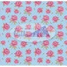 Tecido Estampado Carinho cor - 03 (Azul com Rosa)