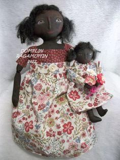 Primitive black folk art dolls, Mother's day collectibles by Dumplinragamuffin #BlackFolkArt