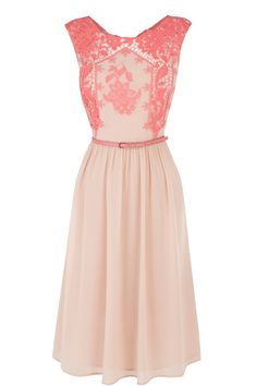 Nude and coral lace dress <3