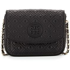 Tory Burch Marion Quilted Mini Shoulder Bag ($425) ❤ liked on Polyvore featuring bags, handbags, shoulder bags, black, black crossbody purse, black crossbody, leather shoulder bag, black leather handbags and leather crossbody purse
