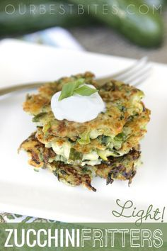 Zucchini Fritters {Light!} I think these would go over well in our house - as long as I don't tell my family these are made with zucchini :)
