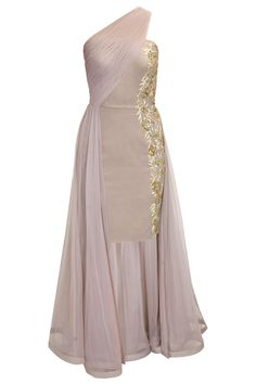 Grey sequins embroidered one shoulder drape dress available only at Pernia's Pop-Up Shop.